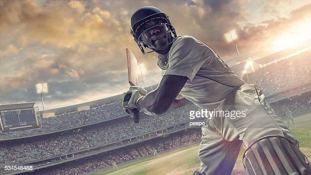cricket batsman about to hit ball during outdoor cricket match - cricket stockfoto's en -beelden