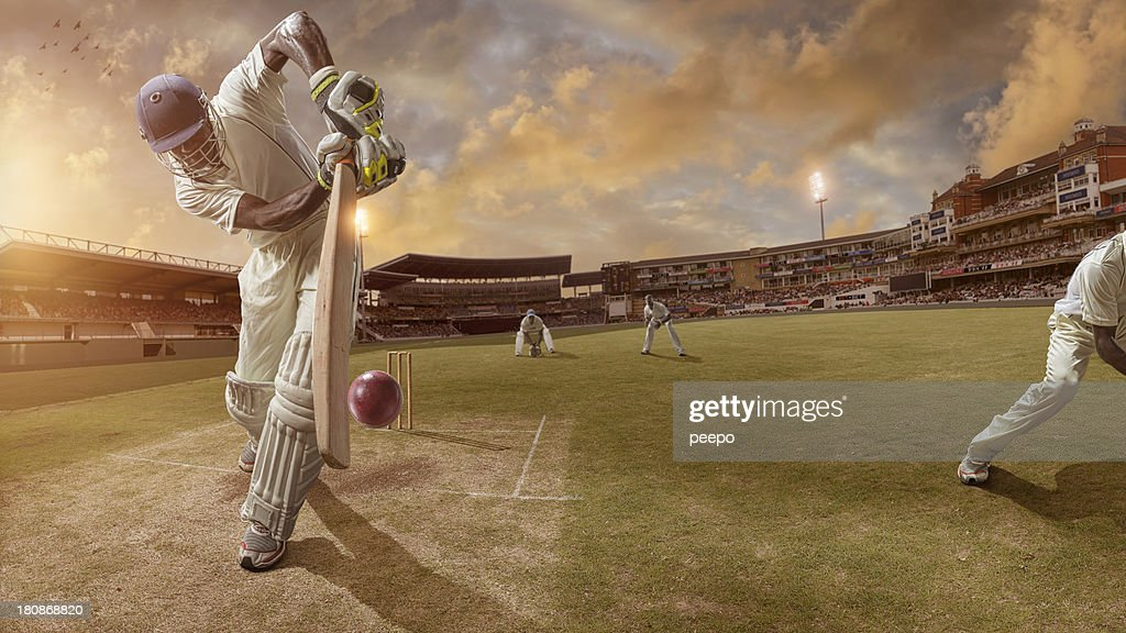 Cricket Batsman About to Strike Ball : Stock Photo