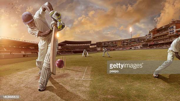 cricket batsman about to strike ball - cricket stockfoto's en -beelden
