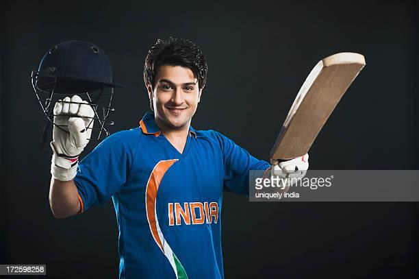 Cricket batsman celebrating his success