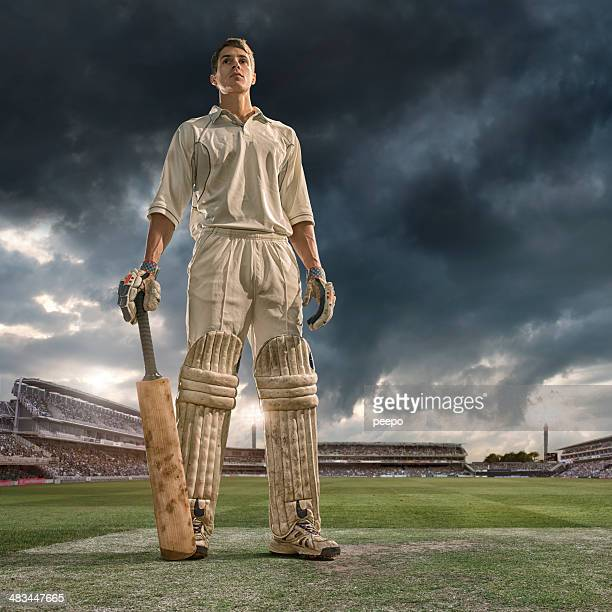 cricket batsman hero - cricket stockfoto's en -beelden
