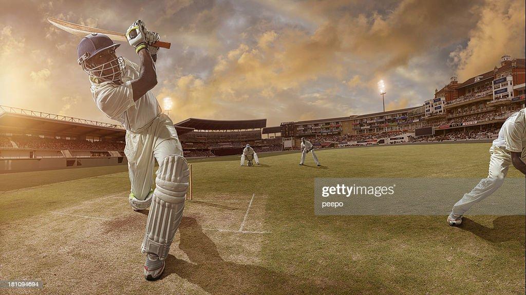 Cricket Batsman Hits A Six : Stock Photo