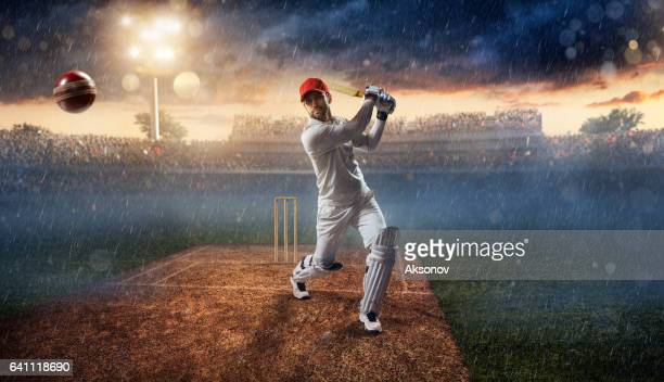 cricket: batsman on the stadium in action - cricket pitch stock pictures, royalty-free photos & images