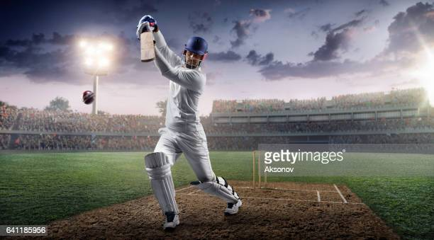 Cricket: Batsman on the stadium in action