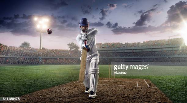 cricket: batsman on the stadium in action - cricket player stock pictures, royalty-free photos & images