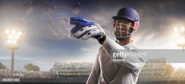 Cricket: Batsman on the stadium