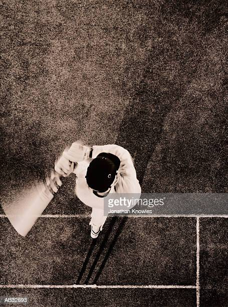 Cricket batsman, overhead view (toned B&W)