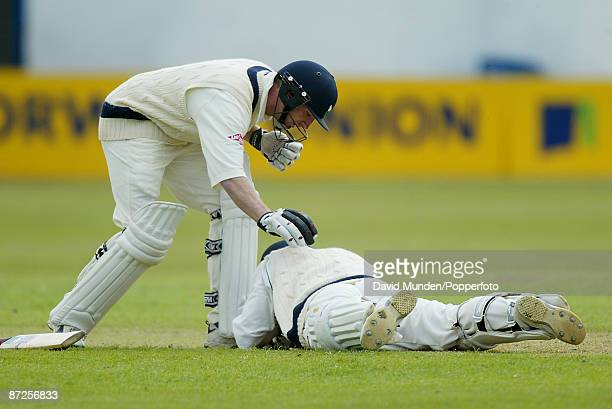 Cricket Benson Hedges Cup Derbyshire v Yorkshire at Derby 04/5/2002 MATTHEW WOOD IS HIT ON THE HEAD BY A BALL FROM MOHAMMAD ALI CAUSING HIM TO RETIRE...