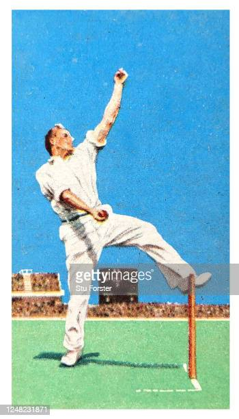 Cricket bowler Harold Larwood of England and Nottinghamshire illustrated on a Gallaher Tobacco Cigarette Card from 1934.