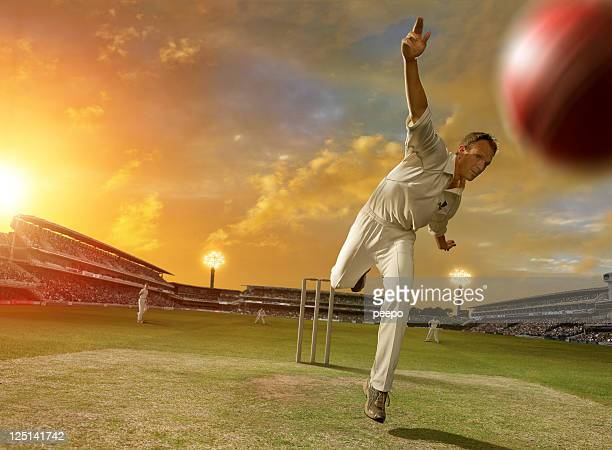 cricket bowler in action - cricket pitch stock pictures, royalty-free photos & images