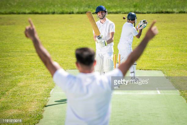 cricket bowler with raised arms - cricket pitch stock pictures, royalty-free photos & images