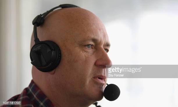 Cricket broadcaster Kevin Howells pictured during day two of the Specsavers County Championship Division One match between Worcestershire and Surrey...