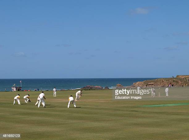 Cricket by the sea, Bude, Cornwall, UK.