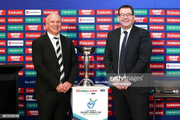 Cricket CEO David White and Sport and Recreation Minister Grant Robertson pose with the ICC U19 World Cup trophy during the ICC Under19 Cricket World...