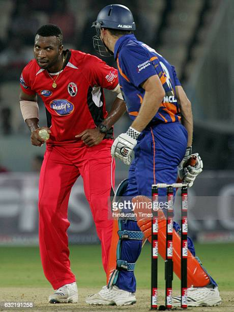 Cricket Champions League T20 CLT20 Kieron Pollard of Trinidad shares a laugh with Ryan Bailey of Eagles during the Airtel Champions League Twenty20...