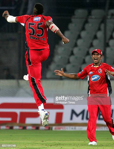 Cricket Champions League T20 CLT20 Kieron Pollard of Trinidad celebrates the wicket of Boeta Dippenaar of the Eagles during the Airtel Champions...