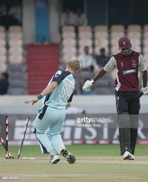 Cricket Champions League T20 CLT20 Omari Banks of Somerset is bowled by Brett Lee of NSW during the Airtel Champions Twenty20 League A match between...