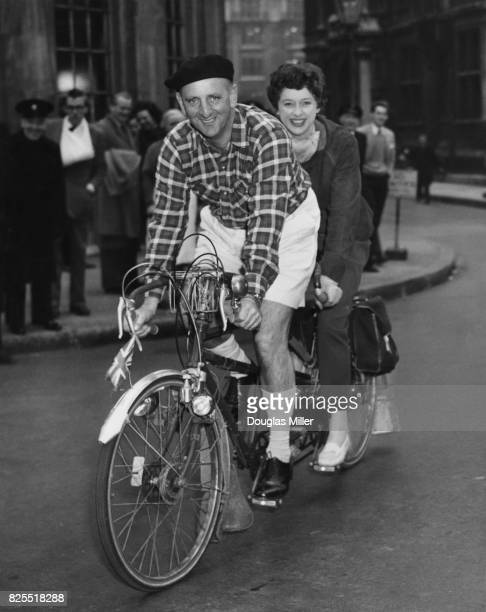 BBC cricket commentator Brian Johnston and radio announcer Patricia Hughes prepare for their tandem trip to Le Touquet France which will be aired on...
