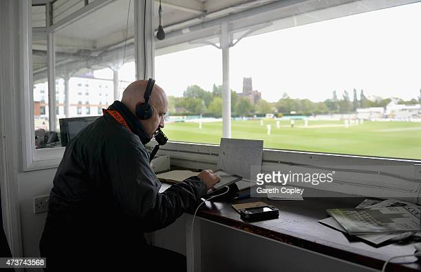 BBC cricket commentator Kevin Howells reports from the commentary box during day four of the tour match between Worcestershire and New Zealand at New...