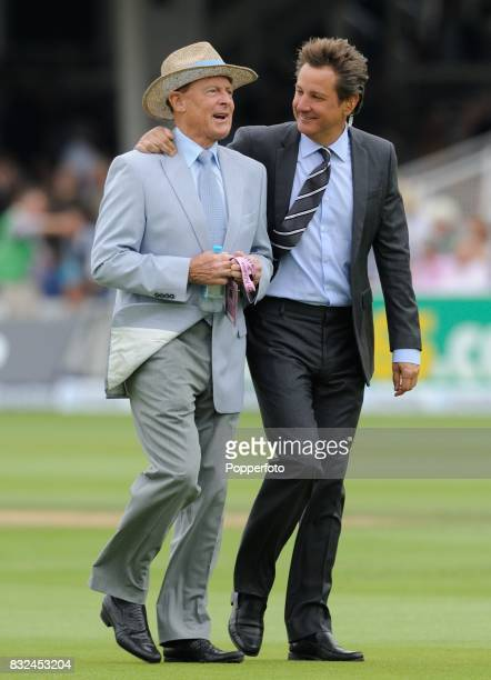 Cricket commentators Mark Nicholas with Geoffrey Boycott before the start of play on Day 3 of the 2nd Test between England and Australia at Lord's...