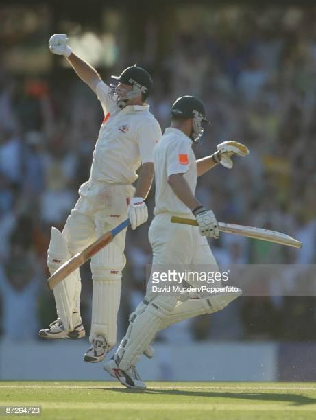 Cricket England tour of Australia 5th test Australia v England Sydney 03/1201/2003 2nd day STEVE WAUGH GOES AIRBORNE TO CELEBRATE REACHING 100