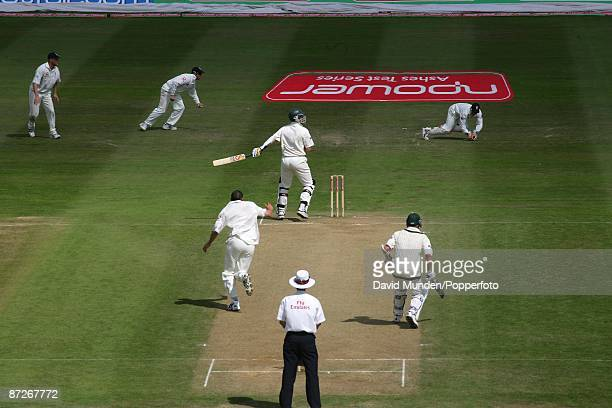 Cricket: England v Australia at Edgbaston, 2nd Test 4th day, 2005. MICHAEL KASPROWICZ GLOVES A BALL FROM STEVE HARMISON TO BE CAUGHT BY GERAINT...