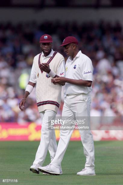 Cricket England v West Indies at The Oval 5th test 2000 CURTLY AMBROSE AND COURTNEY WALSH