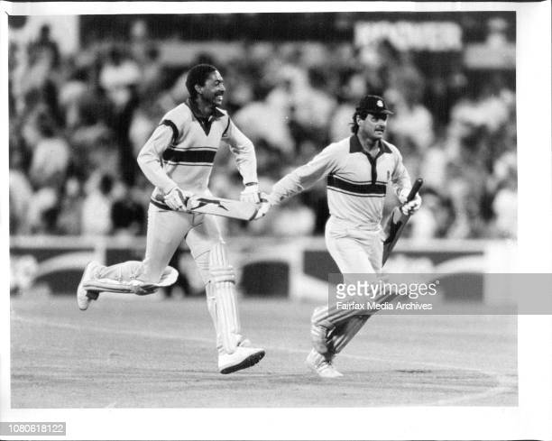 Cricket England Vs Aust One day game played at the SCG Yesterday Allan Lamb with fellow Englishman Defreitas after Lamb hit the winning run for...