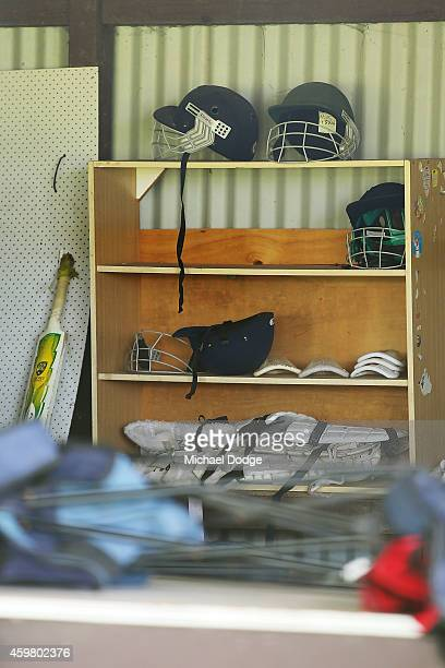 Cricket equipment is seen in the Donnelly/Welsh Playing Fields club house on December 2 2014 in Macksville Australia Cricket player Phillip Hughes...
