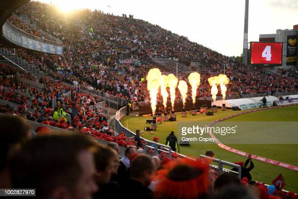 Cricket fans cheer during the Vitality Blast match between Lancashire Lighting and Yorkshire Vikings at Old Trafford on July 20 2018 in Manchester...