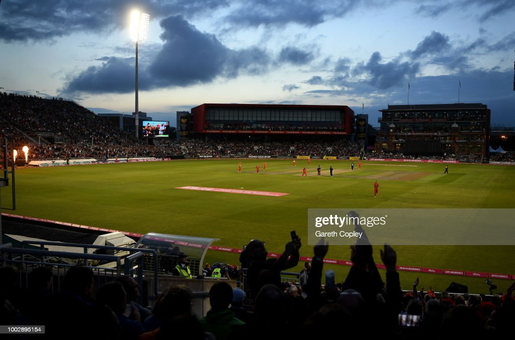 Cricket fans cheer during the Vitality Blast match between Lancashire Lighting and Yorkshire Vikings at Old Trafford on July 20, 2018 in Manchester, England.