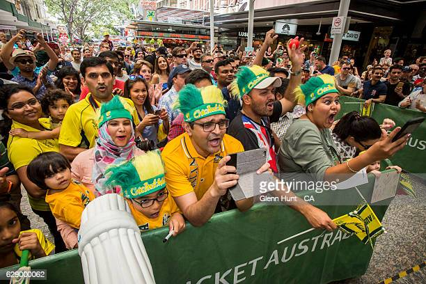 Cricket fans cheering at the Commonwealth Bank Test Series Launch at Queen Street Mall on December 11 2016 in Brisbane Australia