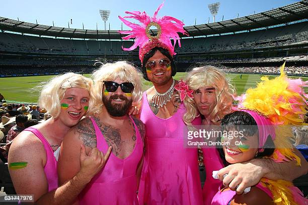 Cricket fans dress up as they attend game two of the One Day International series between Australia and Pakistan at Melbourne Cricket Ground on...