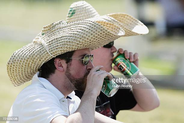 Cricket fans enjoy a drink whilst watching Shane Warne play for St Kilda during the Premier Cricket match between St Kilda Saints and FootsEdgewater...