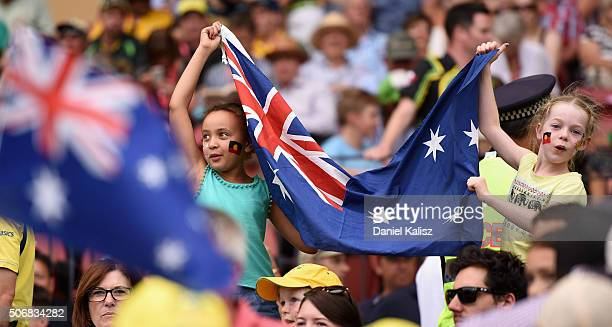 Cricket fans enjoy the armosphere during game one of the Twenty20 International match between Australia and India at Adelaide Oval on January 26 2016...