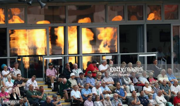 Cricket fans look on during the NatWest T20 Blast match between Worcestershrie Rapids and Derbyshire Falcons at New Road on July 19 2017 in Worcester...
