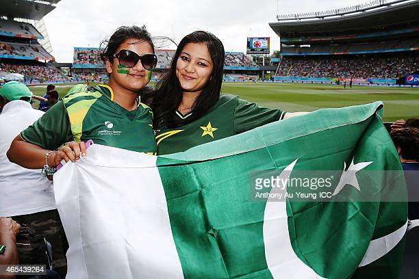 Cricket fans showing their support during the 2015 ICC Cricket World Cup match between South Africa and Pakistan at Eden Park on March 7 2015 in...