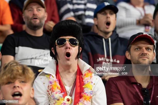 Cricket fans watch the Somerset CCC v Lancashire Lightning - Vitality T20 Blast Quarter Final at The Cooper Associates County Ground on August 26,...