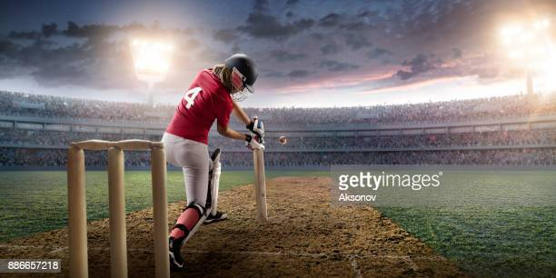 cricket female batsman on a professional arena - batsman stock pictures, royalty-free photos & images