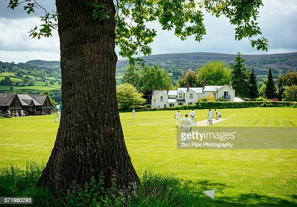 Cricket game, Crickhowell, Brecon Beacons, Powys, Wales, UK