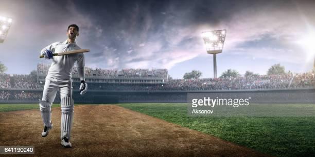 cricket: happy batsman on the stadium - batsman stock pictures, royalty-free photos & images