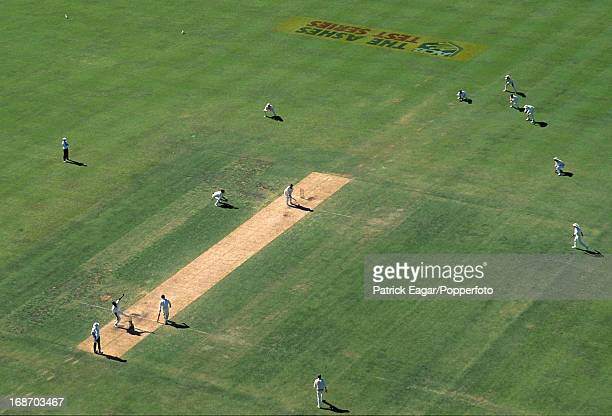 Cricket in progress at the WACA ground Devon Malcolm bowling to Mark Taylor at start of second innings 5th Test Australia v England Perth February...
