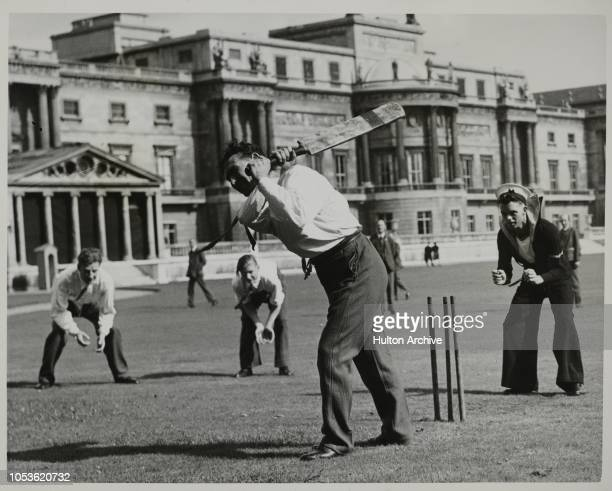 Cricket In The Grounds Of Buckingham Palace At a Garden Party for Wounded soldiers held at Buckingham Palace a game of cricket was played on the...