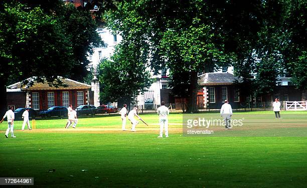 cricket in the park chelsea london on a summer day - england cricket stock pictures, royalty-free photos & images