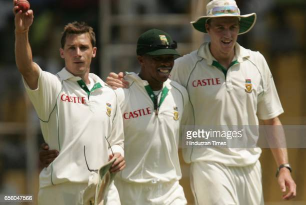 Cricket India vs South Africa Second Test Match at Ahmedabad South Africa's bowling trio Dale Steyn Makhaya Ntini and Morney Morkel who finished...