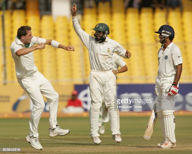 Cricket - India vs South Africa Second Test Match at Ahmedabad - South Africa bowler Dale Steyn celebrates the wicket of India's Sourav Ganguly with...