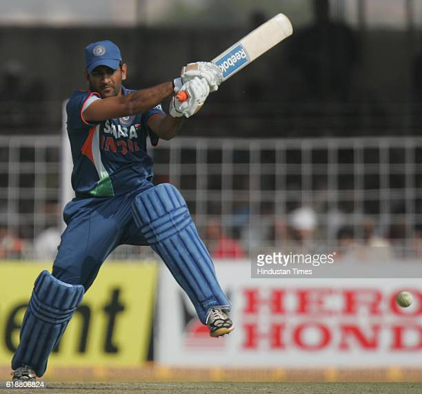Cricket India vs Sri Lanka ODI India batsman M S Dhoni bats during the first ODI between India and Sri Lanka at Madhavrao Scindia stadiium in Rajkot