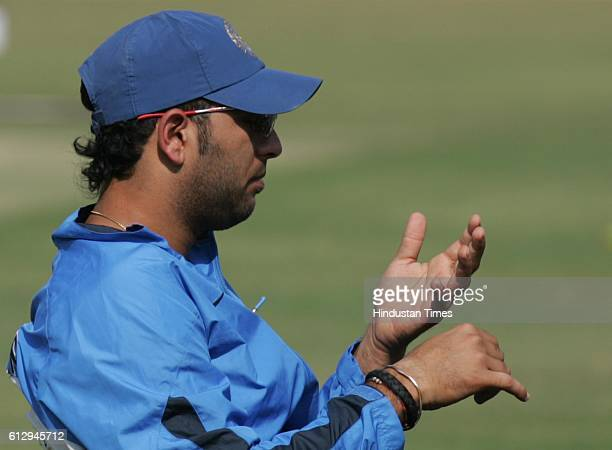 Cricket India vs Sri Lanka ODI India batsman Yuvraj Singh looka at his injured finger during the net practice ahead of the first ODI between India...