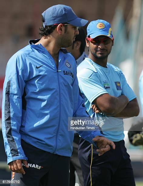 Cricket India vs Sri Lanka ODI India batsman Yuvraj Singh talks to Sri Lanka captain Sangakkara during the net practice ahead of the first ODI...