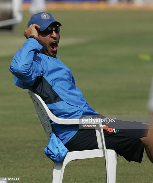 Cricket India vs Sri Lanka ODI India batsman Yuvraj Singh yawns as he didnt take part in the net practice ahead of the first ODI between India and...